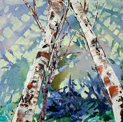 Reaching For Sunlight I by Maya Eventov - Original Painting on Stretched Canvas sized 16x16 inches. Available from Whitewall Galleries