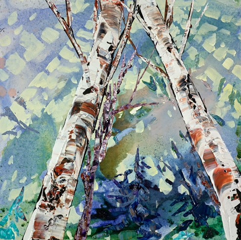 Reaching For Sunlight I by Maya Eventov - Original Painting on Stretched Canvas